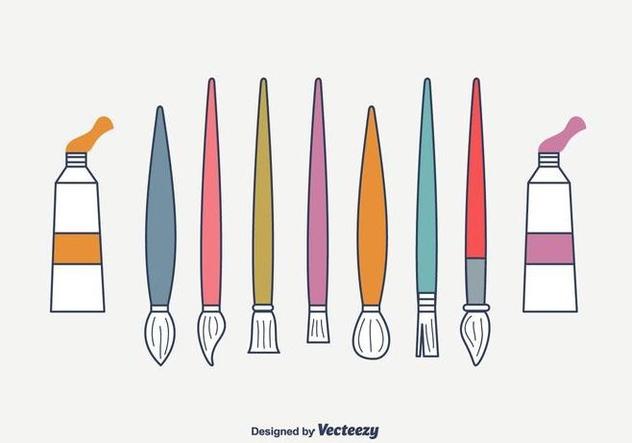 Artist Brushes Vector Set - vector #422543 gratis