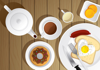 Teapot and Breakfast Vector Scene - бесплатный vector #422553