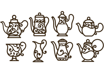 Swirly Decorative Teapot Vectors - бесплатный vector #422563