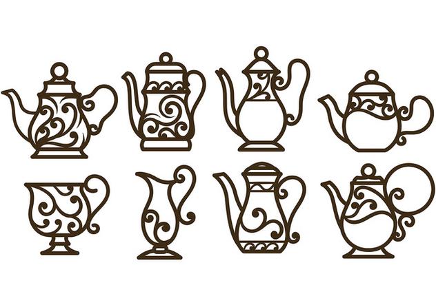 Swirly Decorative Teapot Vectors - vector #422563 gratis