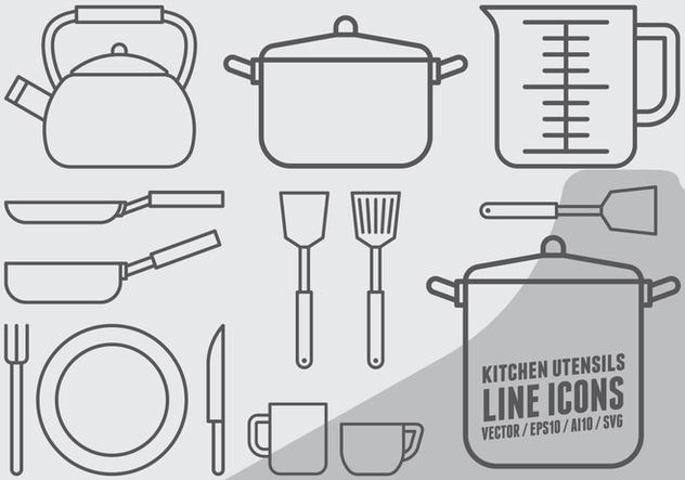 Kitchen Utensils Icons - vector #422583 gratis