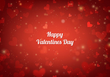 Free Vector Red San Valentin Card With Hearts And Lights - Free vector #422813