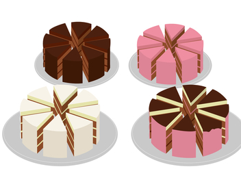 Eight Pieces Slice Cake - vector #423003 gratis