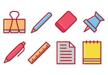 Stationery Items Vector Set - Free vector #423173