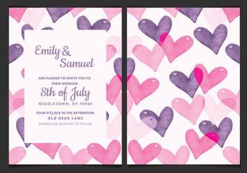 Vector Wedding Invitation with Watercolor Hearts - Kostenloses vector #423323
