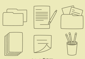 Hand drawn office Tool Vectors - Free vector #423923