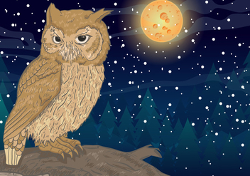 Owl With Full Moon Background - vector gratuit #424313