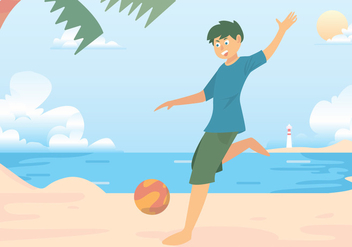 Beach Soccer Shooting Vector - Free vector #424733