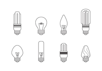 Linear Ampoule Light Bulb Icons - vector #425453 gratis