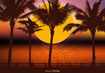 Beautiful Tropical Landscape Scene - Free vector #426033