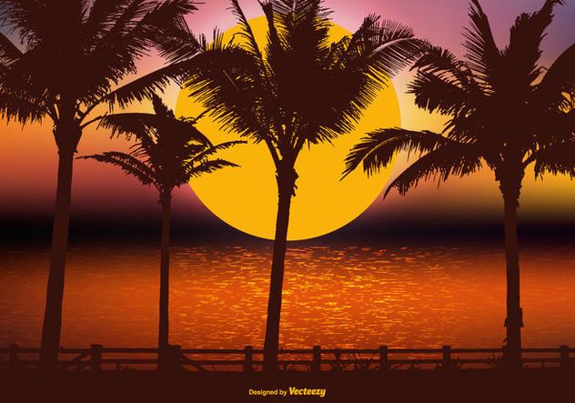 Beautiful Tropical Landscape Scene - Free vector #426033