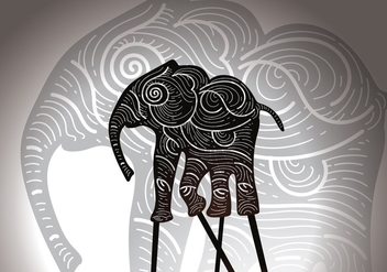 Free Elephant Shadow Puppet Vector Illustration - Free vector #426043
