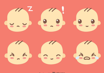 Cute Baby Face Collection Vector - Free vector #426563