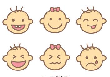 Baby Face Expression Vectors - Kostenloses vector #426793