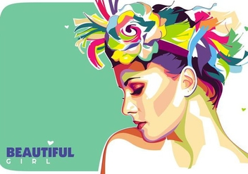 Beautiful Girl Vector Popart Portrait - Free vector #427373