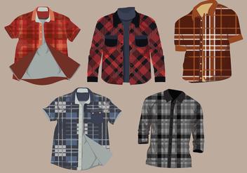 Flannel Pattern Shirt Vector Pack - бесплатный vector #427483
