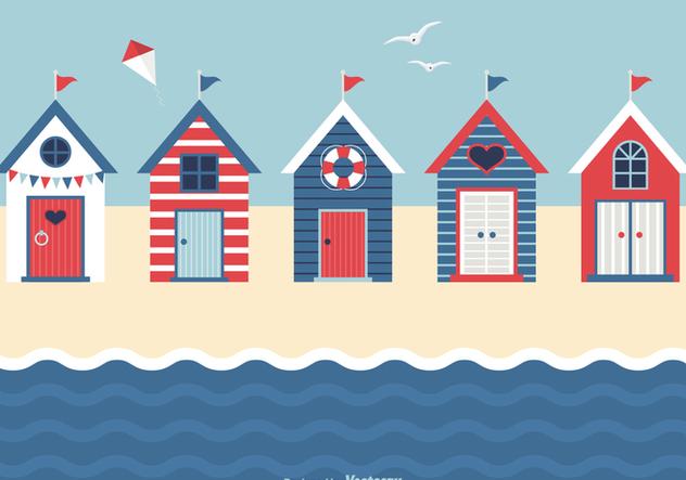 Nautical Beach Huts Vector - vector gratuit #427523