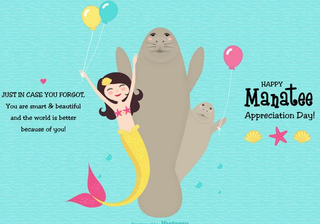 Cute Manatee Appreciation Day Vector Card - vector gratuit #427713