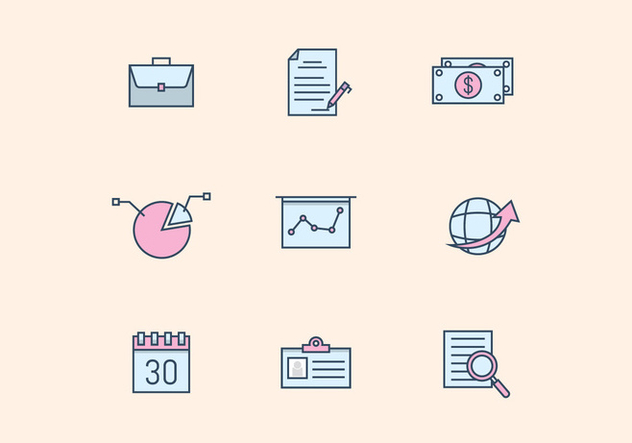 Pastel Business Icons - Free vector #427723