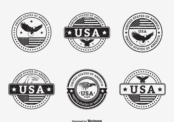 Black Grunge USA Seals Vector - Free vector #427763