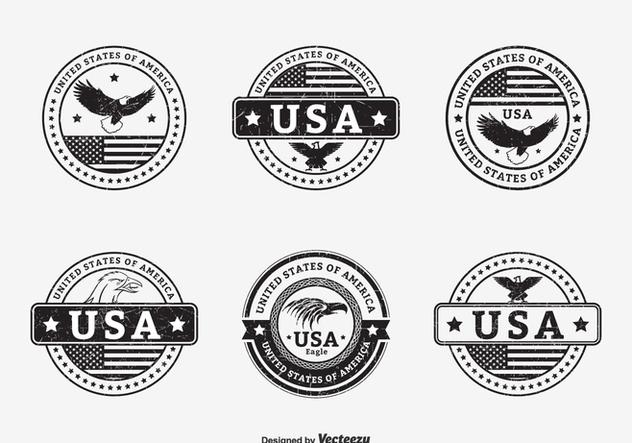 Black Grunge USA Seals Vector - vector gratuit #427763