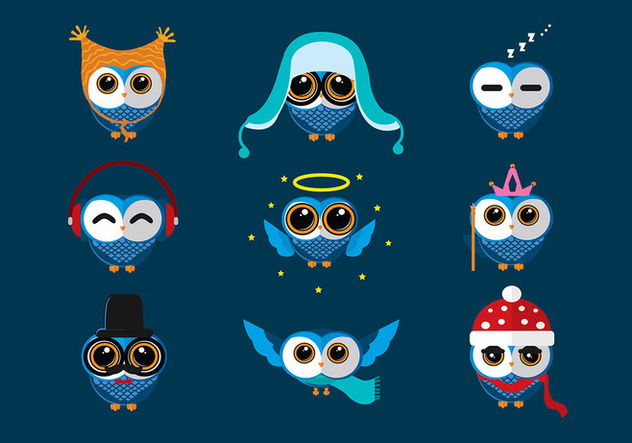 Coruja Blue Cartoon Free Vector - vector gratuit #427773