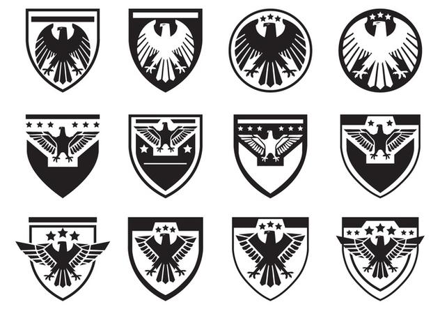Black Eagle Seal Symbol Vector Set - vector gratuit #427783