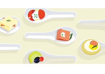 Canapes on Chinese Spoons Vector - Free vector #428113