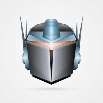 Vector illustration of iron robot head mask on white background - Free vector #125723
