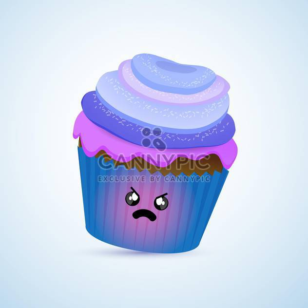 colorful illustration of blue angry cupcake with mad facial expression on blue background - Free vector #125733