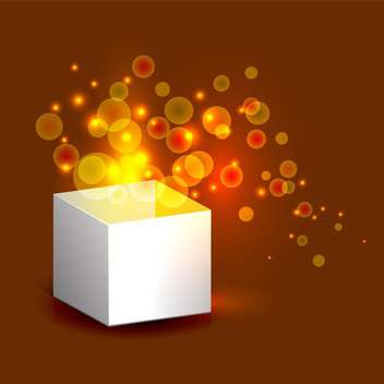Vector illustration of magic gift box with gold light on brown background - vector gratuit #125763