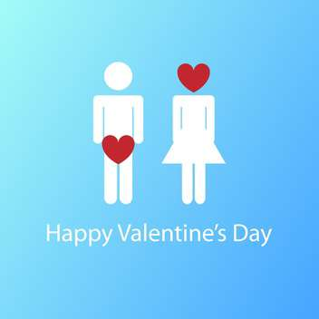 Vector illustration of Valentine's Day card with man and woman signs and red heart thoughts on blue background - vector gratuit #125773