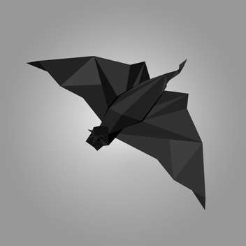 Vector illustration of black paper origami bat on grey background - Free vector #125793