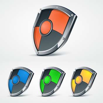 Vector illustration set of colorful protection shields on white background - Free vector #125803