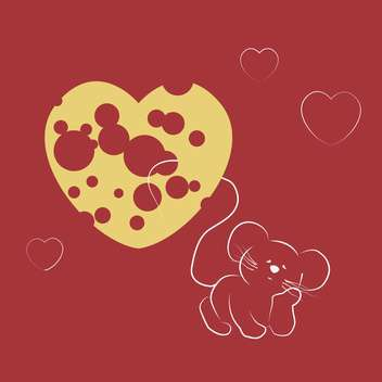 Vector illustration of mouse dreaming about heart shape cheese on red background - vector gratuit #125853