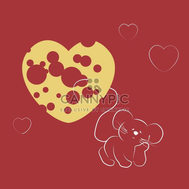 Vector illustration of mouse dreaming about heart shape cheese on red background - Free vector #125853
