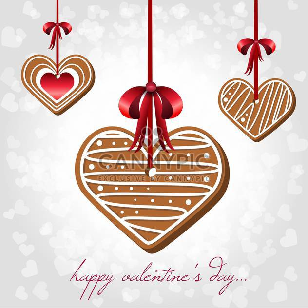 Vector card for Valentine's Day with hearts shaped cookies - Free vector #125903