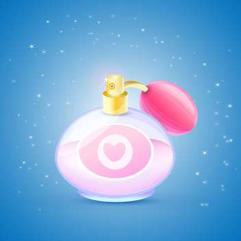 Vector illustration of pink perfume bottle on blue background with sparkles - Free vector #125913