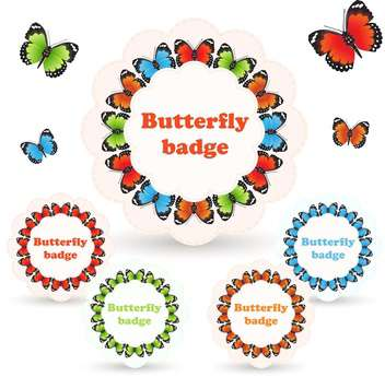 Vector illustration of colorful badges with butterflies on white background - vector gratuit #125923