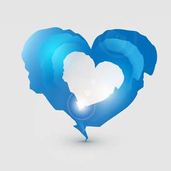 Vector illustration of blue sparkling torn heart on grey background - vector gratuit #126023