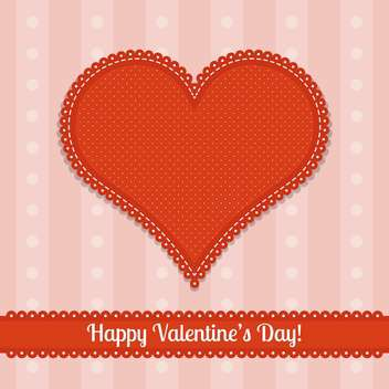 valentine card with big red heart and text place - vector gratuit #126043