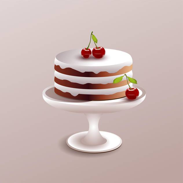 Vector illustration of sweet cake with red ripe cherry on pink background - vector gratuit #126083
