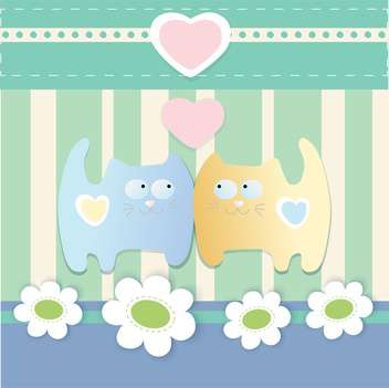 Vector cute background with lovely cats and hearts - vector gratuit #126103
