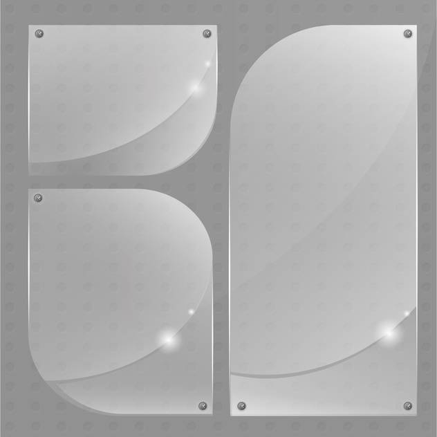 Collection of transparent glass banners on grey background with text place - Free vector #126133