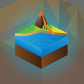 Vector colorful education scheme of volcano maquette - бесплатный vector #126193