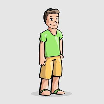 Vector illustration of cartoon man character standing on white background - vector gratuit #126213