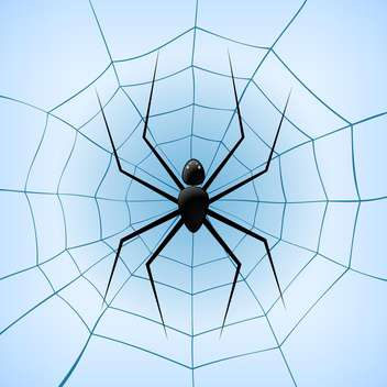 Vector illustration of spiderweb with black spider on blue background - vector gratuit #126223