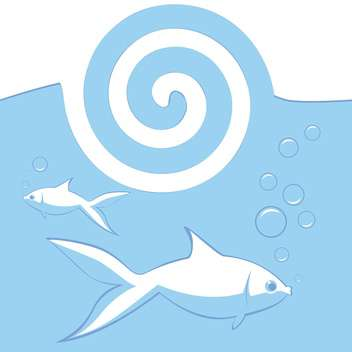 Vector illustration of blue background with fishes in water and whirlpool - Free vector #126263