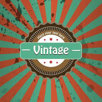 Vector vintage background with stripes and round label - бесплатный vector #126283