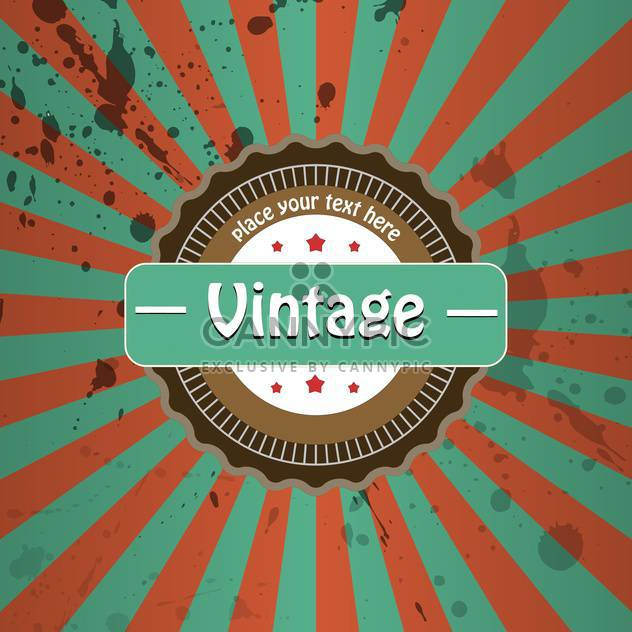Vector vintage background with stripes and round label - Free vector #126283
